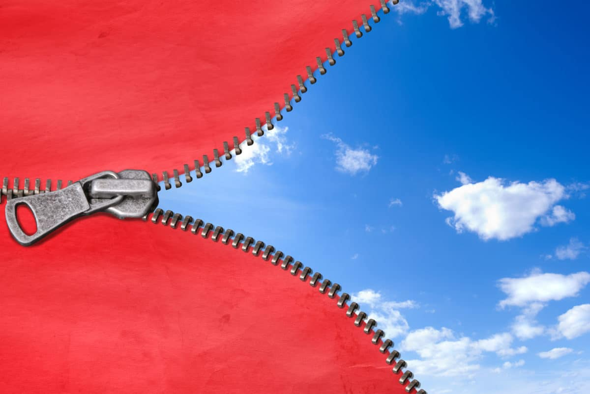 Illustration showing a zipper with blue skies when unzipped.
